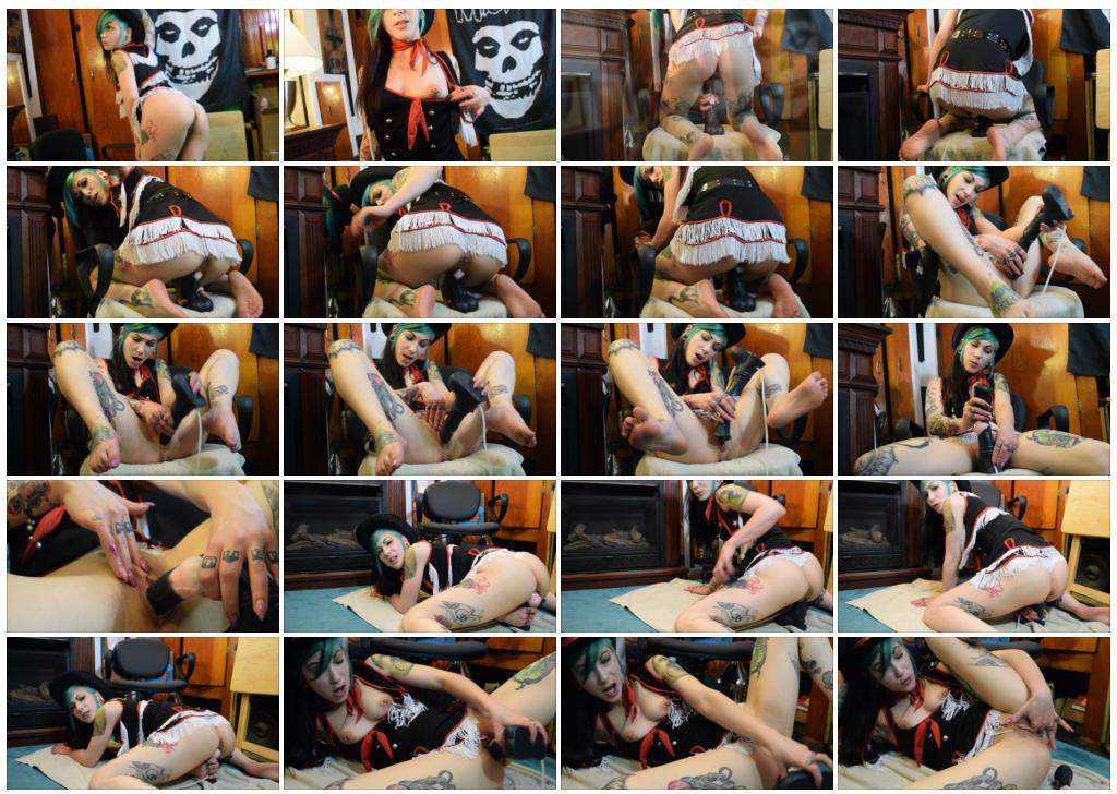 Kinky tattooed teenager hard rides on a horse dildo