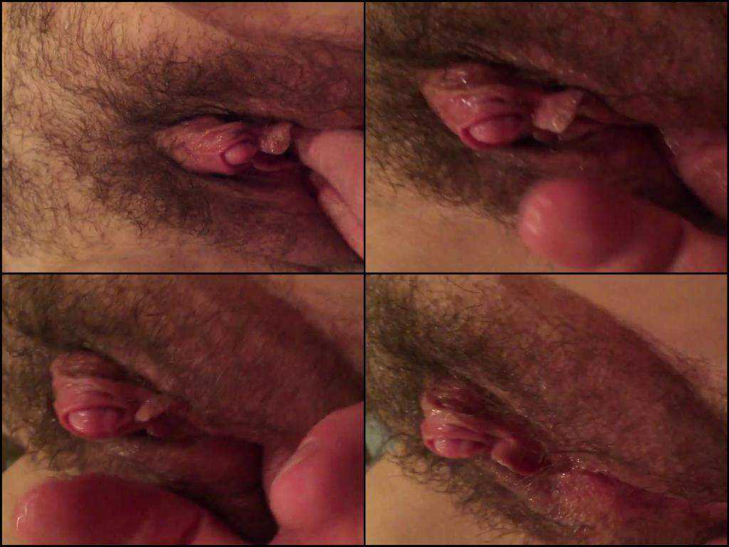 Insane closeup amateur video with giant hairy clit