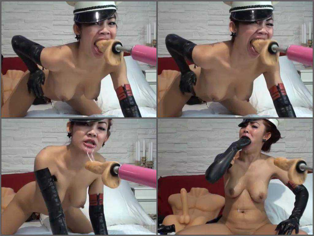 Asian whore solo throat driller fuckmachine