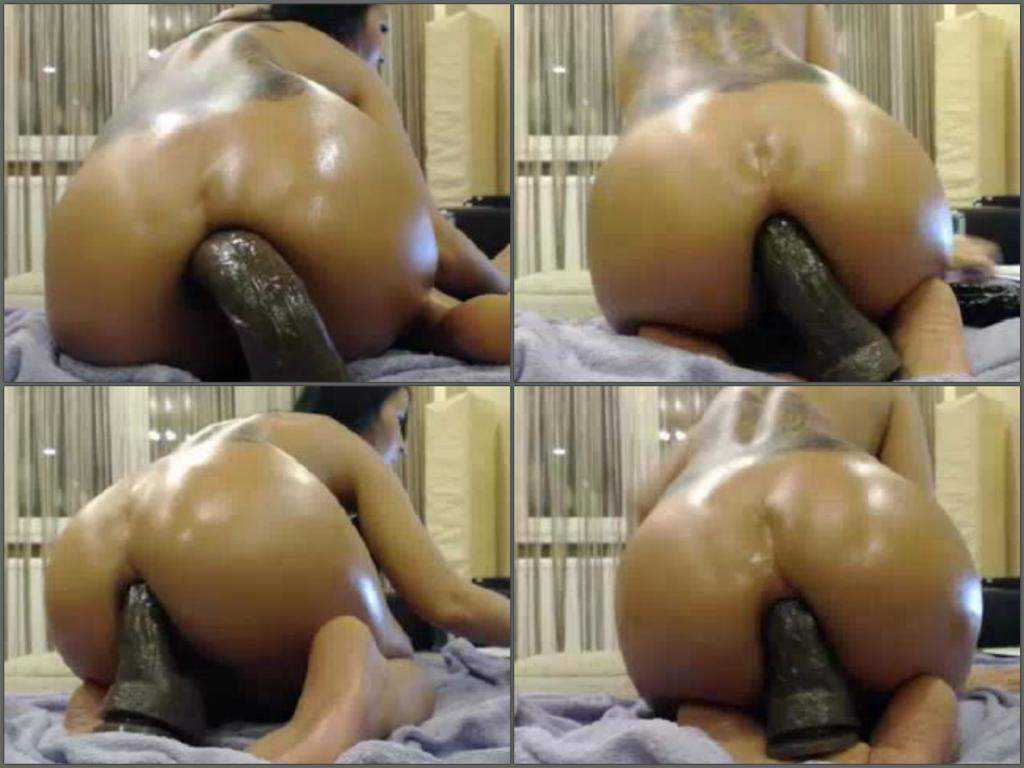 Awesome booty milf fantastic sized toy penetrated ass