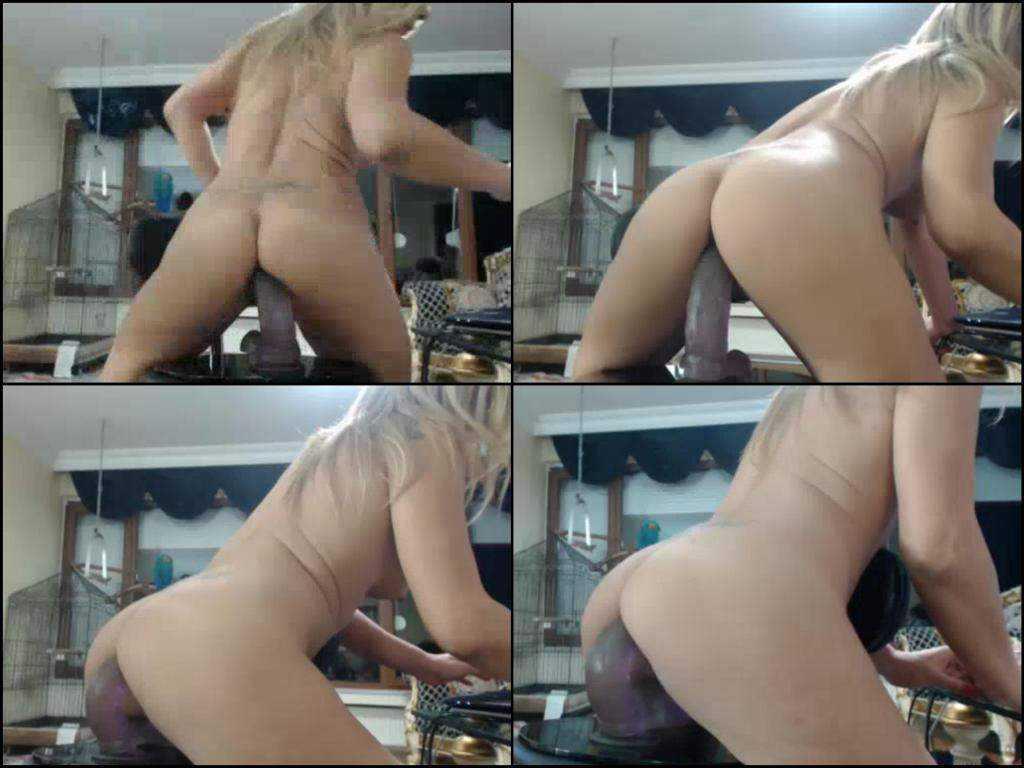 Sexy busty blonde webcam big transparent toy riding