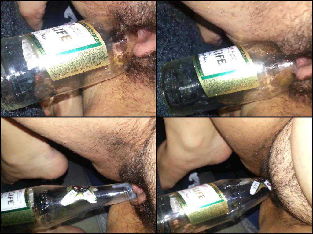 Very close amateur fatty hairy girl bottle riding