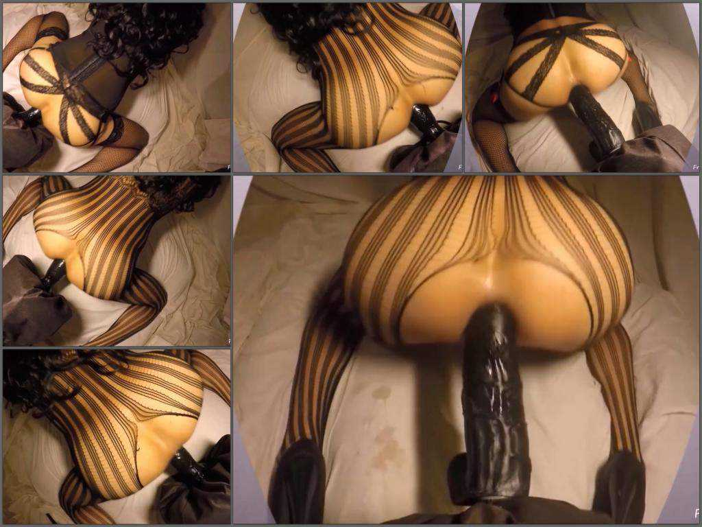 Colossal strapon penetration hard in ass my wife closeup