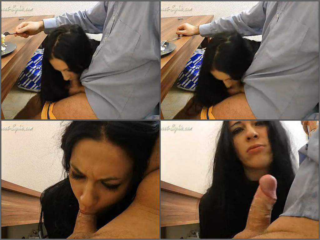 Dirty wife exciting blowjob sitting under the table