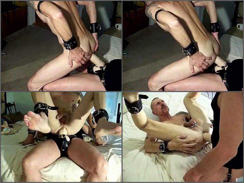 Gay extreme rides anal on a epic strap-on