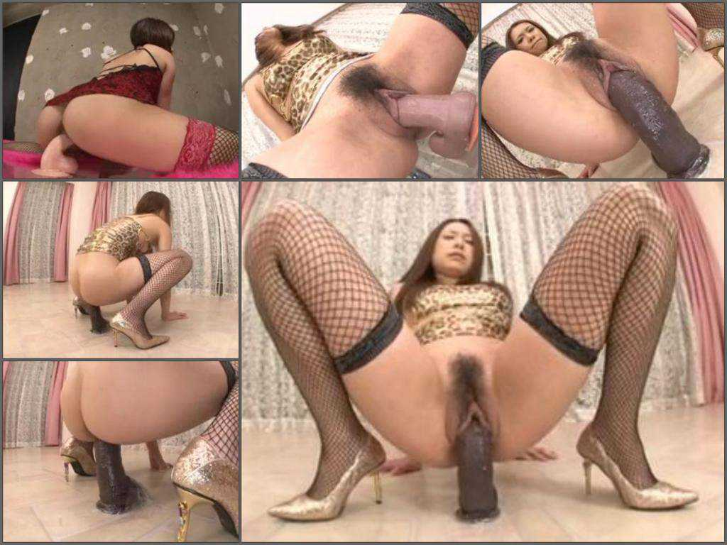 Hairy asian girl with hairy pussy huge dildo rides