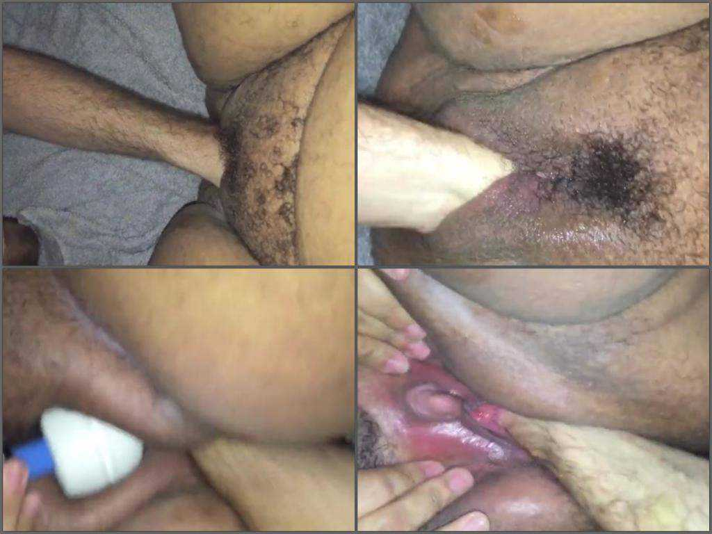Hairy bbw with huge clit vaginal fisting closeup homemade