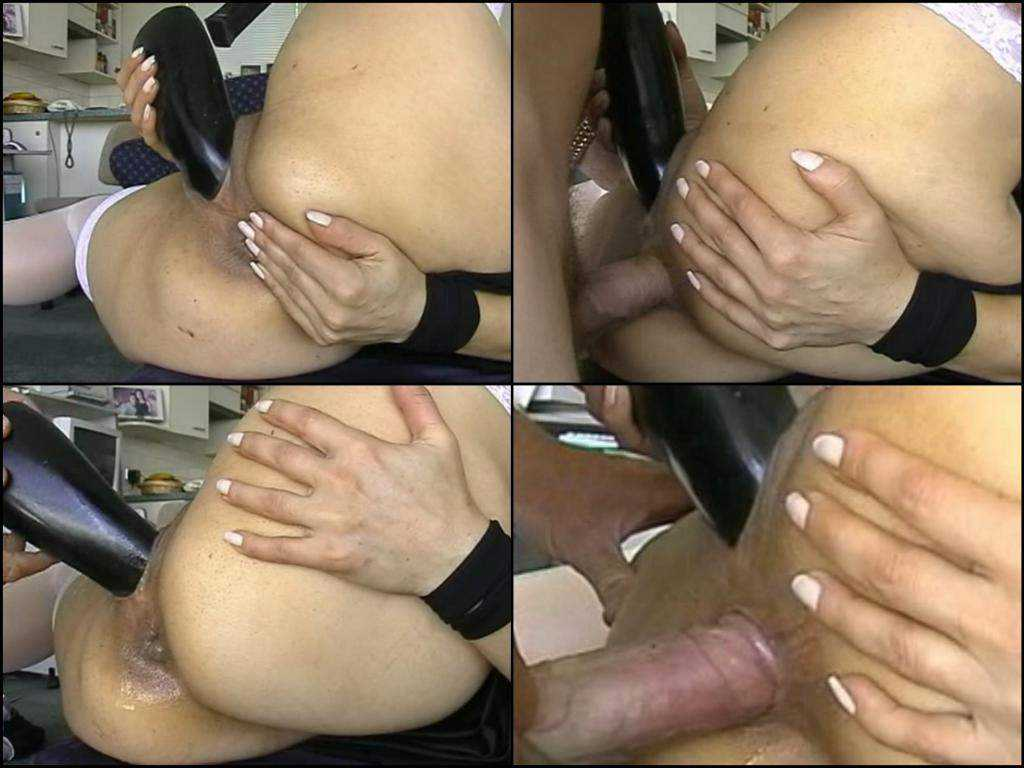 Amateur colossal dildo pussy and cock anal