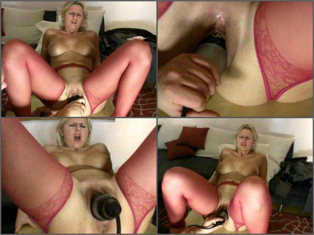 Inflatable dildo fully insertion in wet pussy titted milf