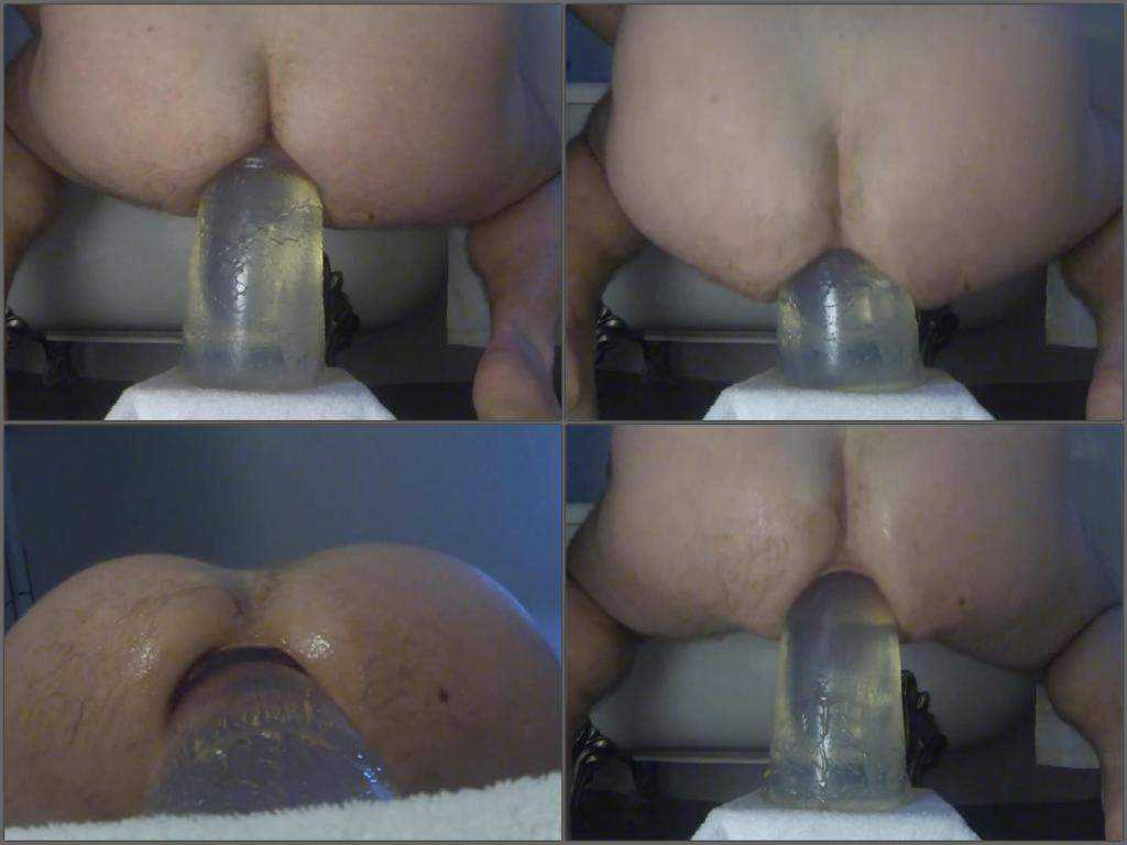 Monster transparent dildo anal riding slave male