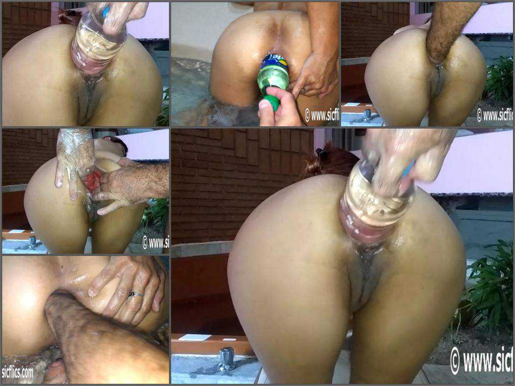 New 2017 booty wife gets fisted and huge bottle in ruined ass