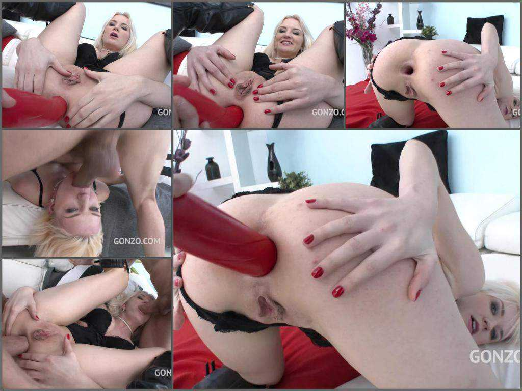 New 24.04.2017 Bree Haze giant red dildo deep penetration in anal gape