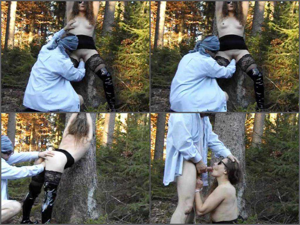 Outdoor deep fisting bondage skinny wife