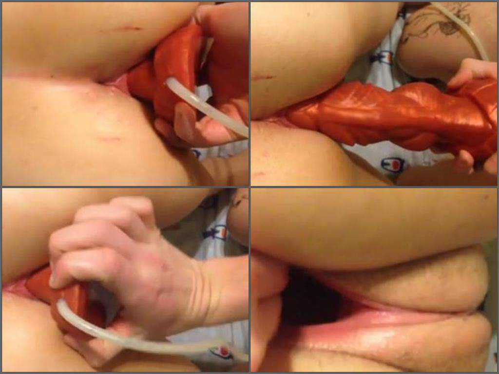 Shocking sized dragon dildo fully in gaping pussy my wife