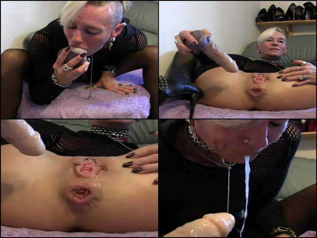 Unique amateur mature dildo in deepthroat, puke and rosebutt ass