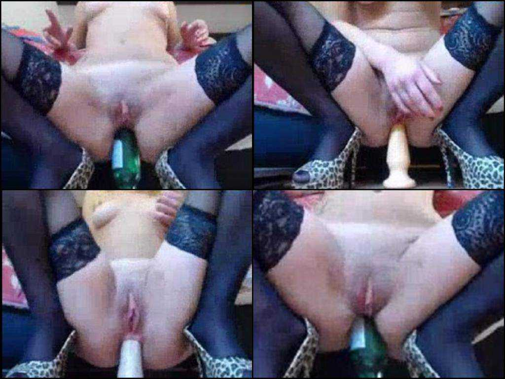 Fantastic amateur milf beer bottle deep anal insertion