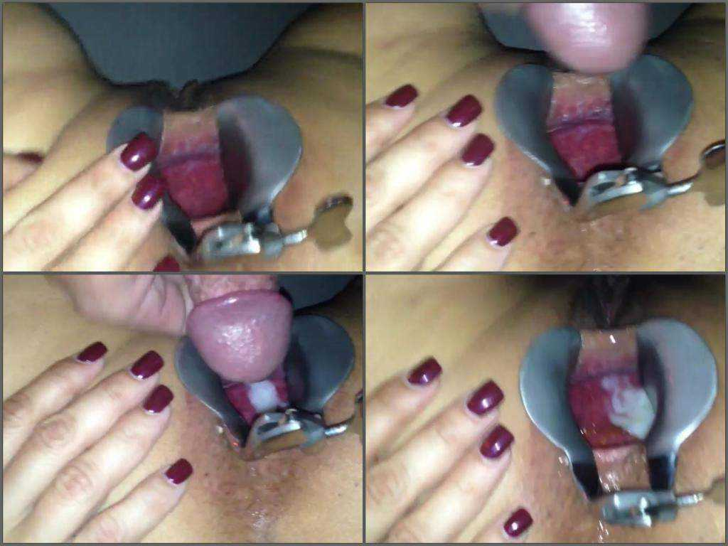 Speculum pussy and cumshot inside amateur video