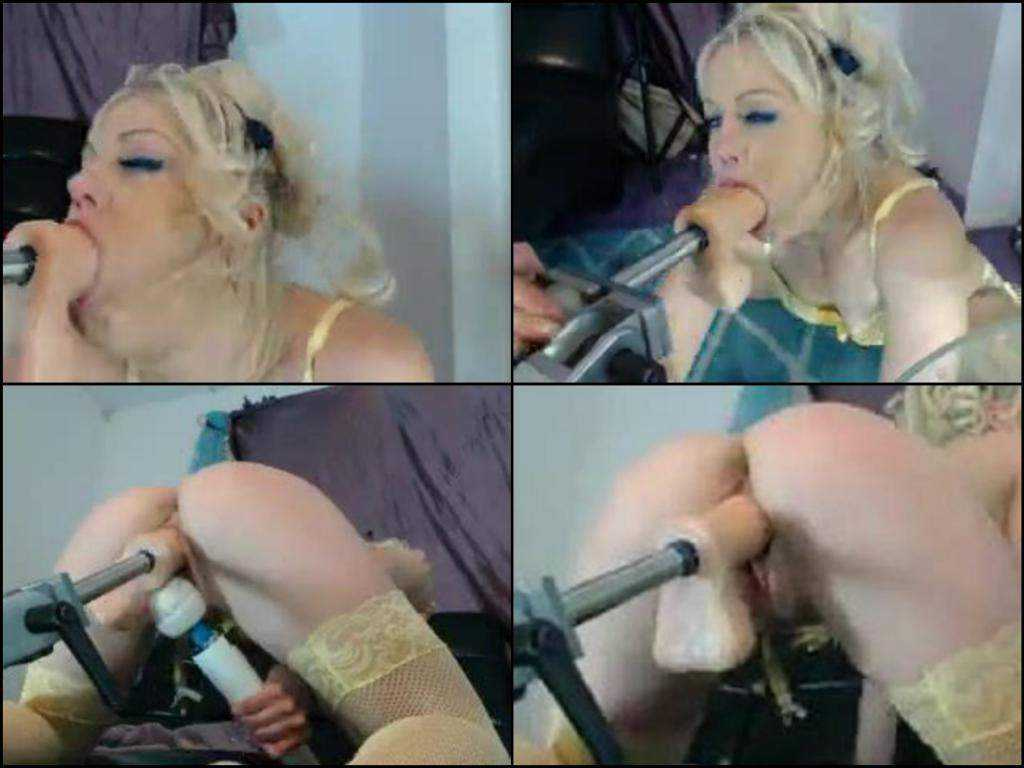 Webcam deepthroat blonde play with fast fuckmachines