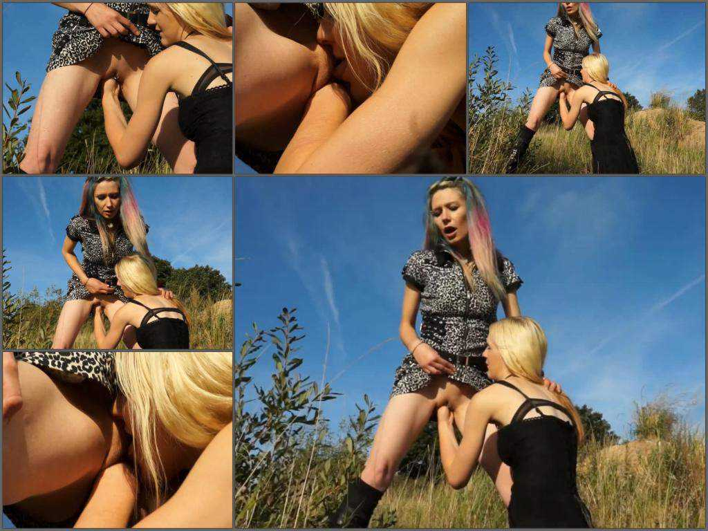 Two dirty lesbians fisting outdoor