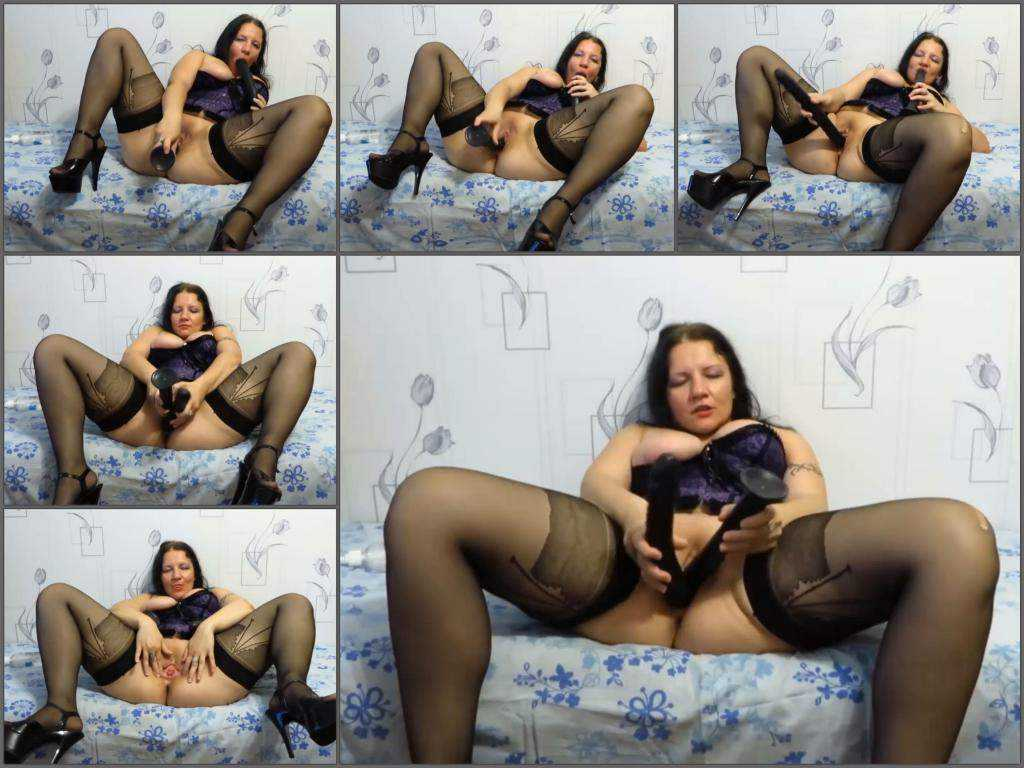Fatty russian brunette double dildo penetration in narrow pussy