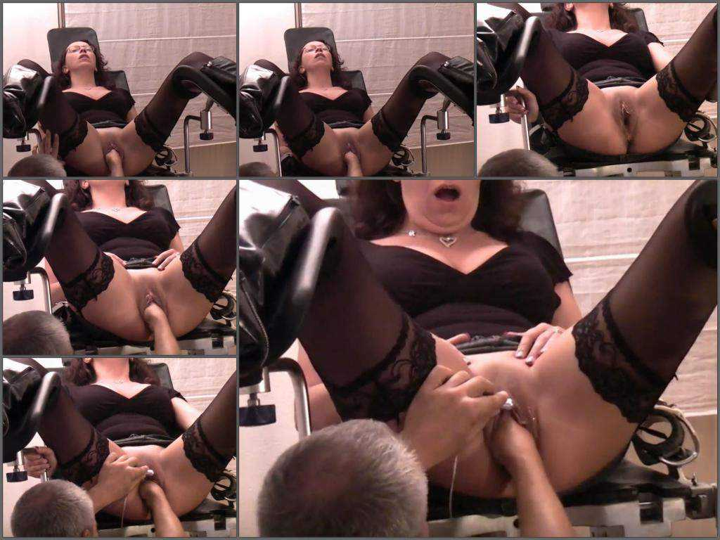 Sexy wife gets fisted on a gynecological chair homemade