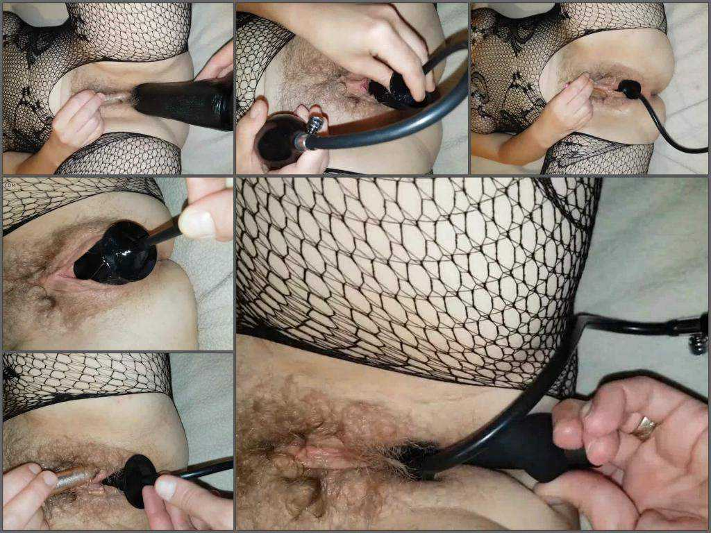 Amateur wife gets big inflatable dildo in her sweet hairy pussy
