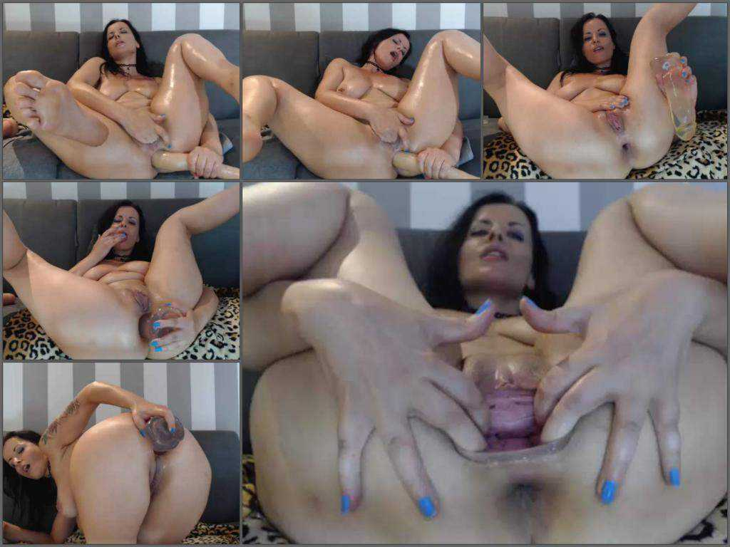 Big ass milf gets monster dildos in her stretching anus gape