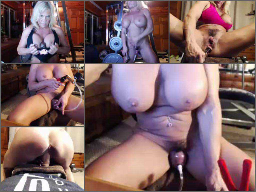 Busty muscular milf amazing pussypump herself