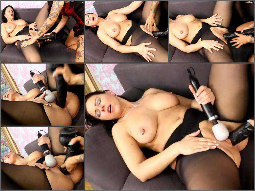 Busty milf CharliesAngel gets huge dildo from her tattooed girlfriend