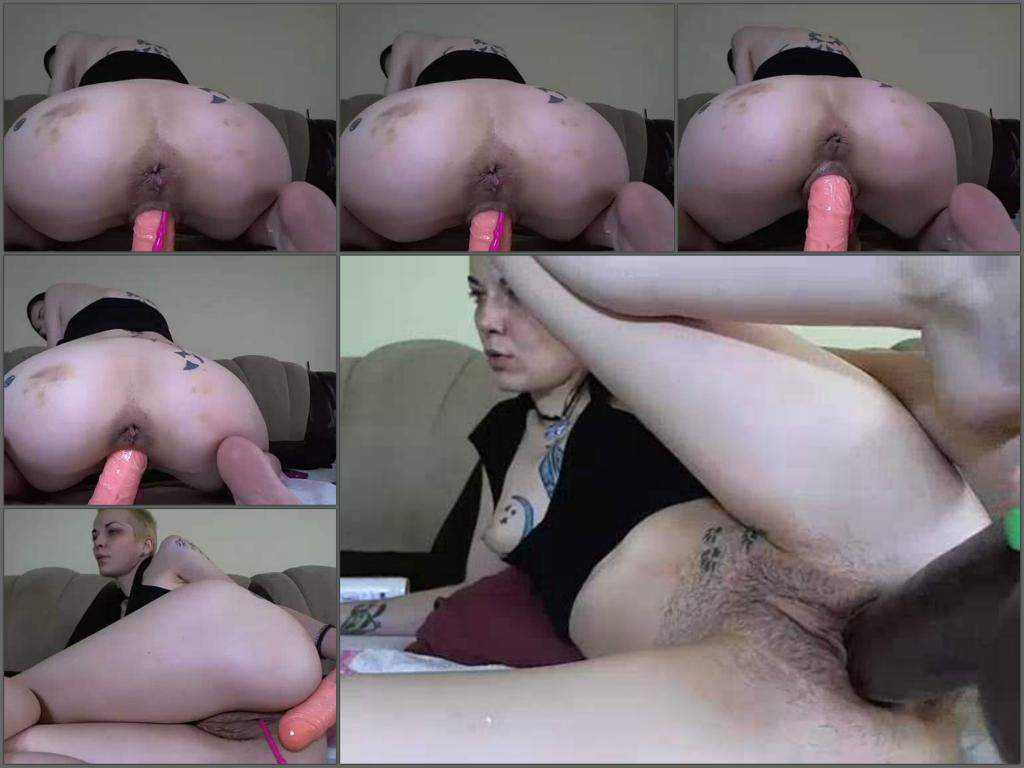 Webcam bald girl with hairy pussy solo huge dildo penetration