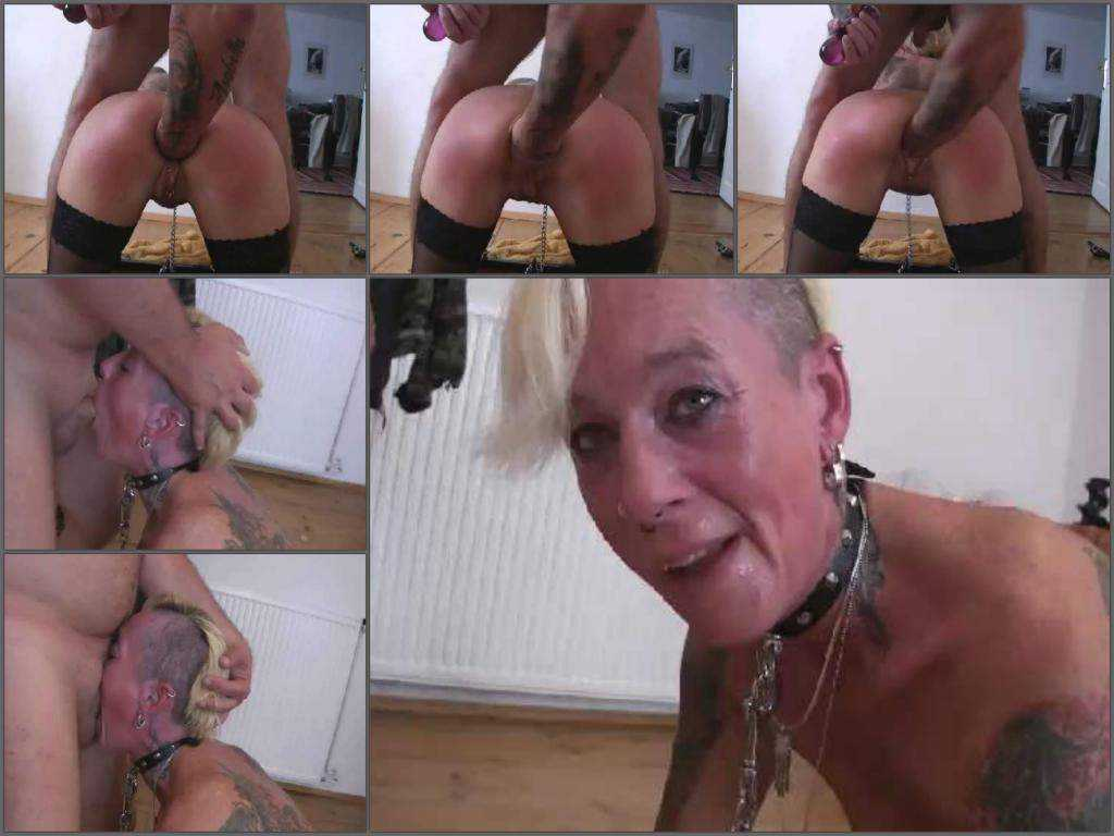 Mature gagged on dick and gets anal fisted homemade