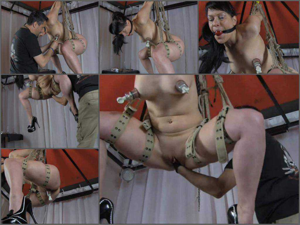 Bondage mature gets fisted during big tits pump amateur