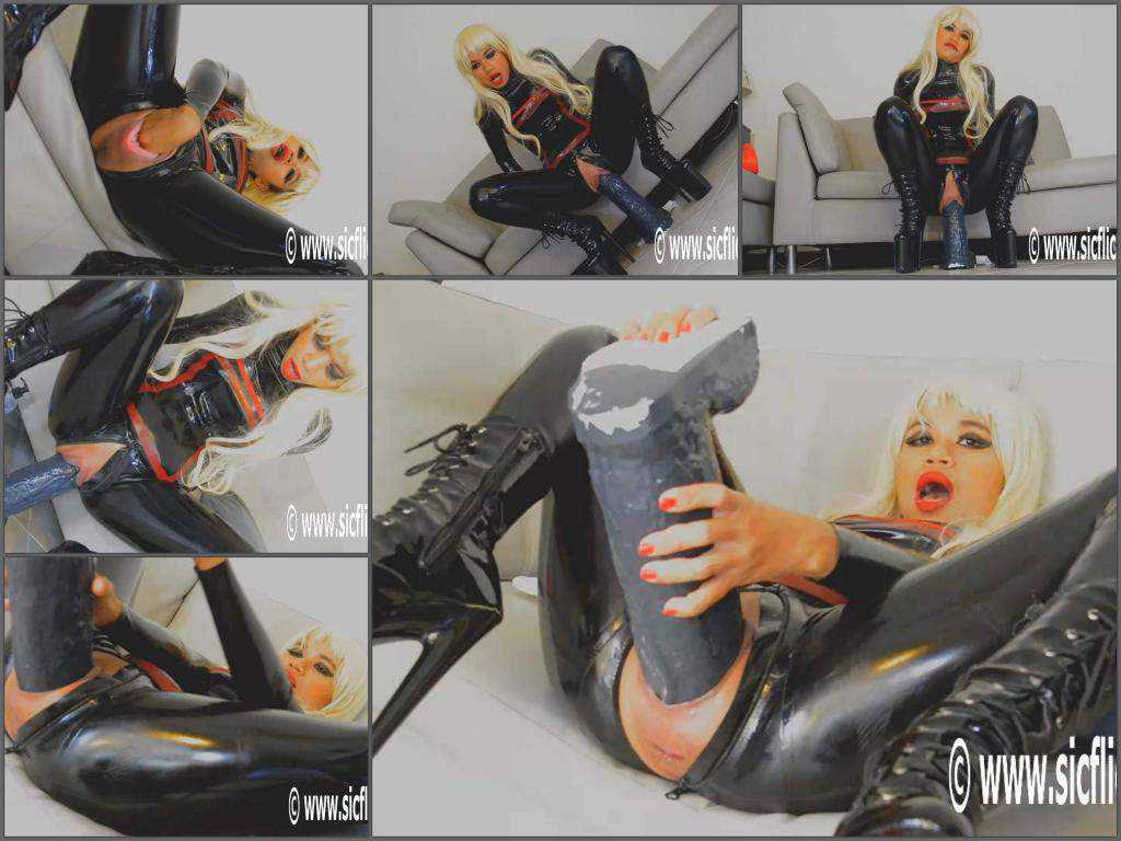 Busty rubber blonde awesome BBC dildo rides vaginal after fisting