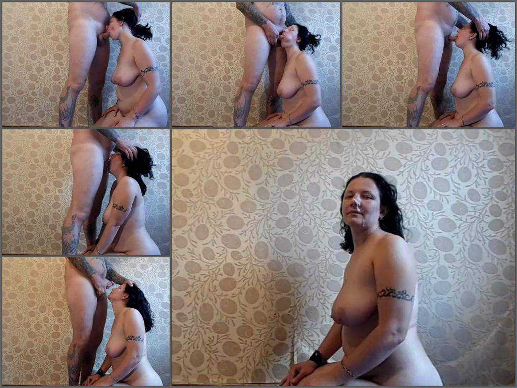 Sexy russian busty wife deepthroat fuck to gagging and facial