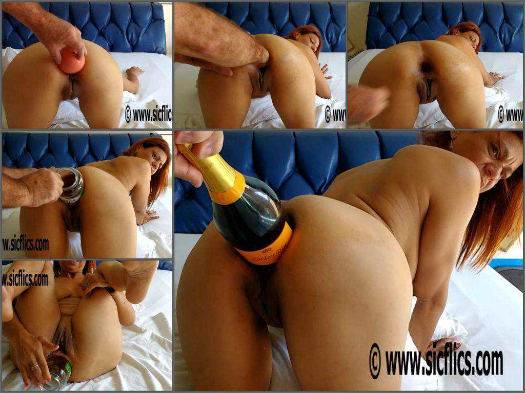 Dirty redhead wife gets champagne bottle deep in ruined ass