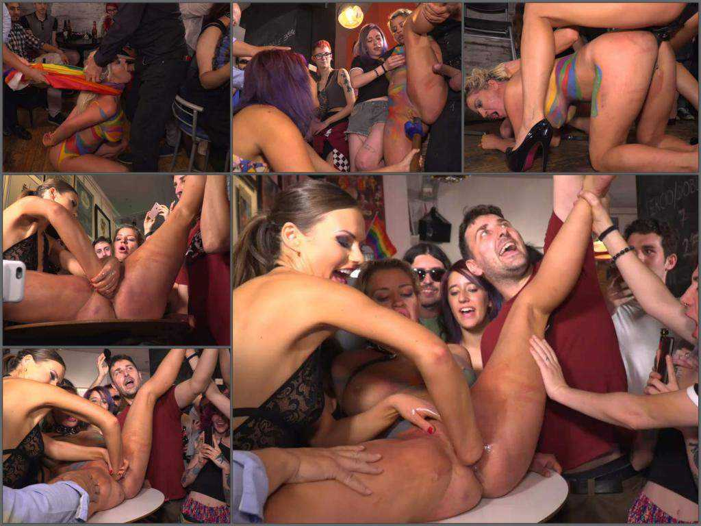 Tina Kay and Sienna Day public fisting and strapon domination in Madrid