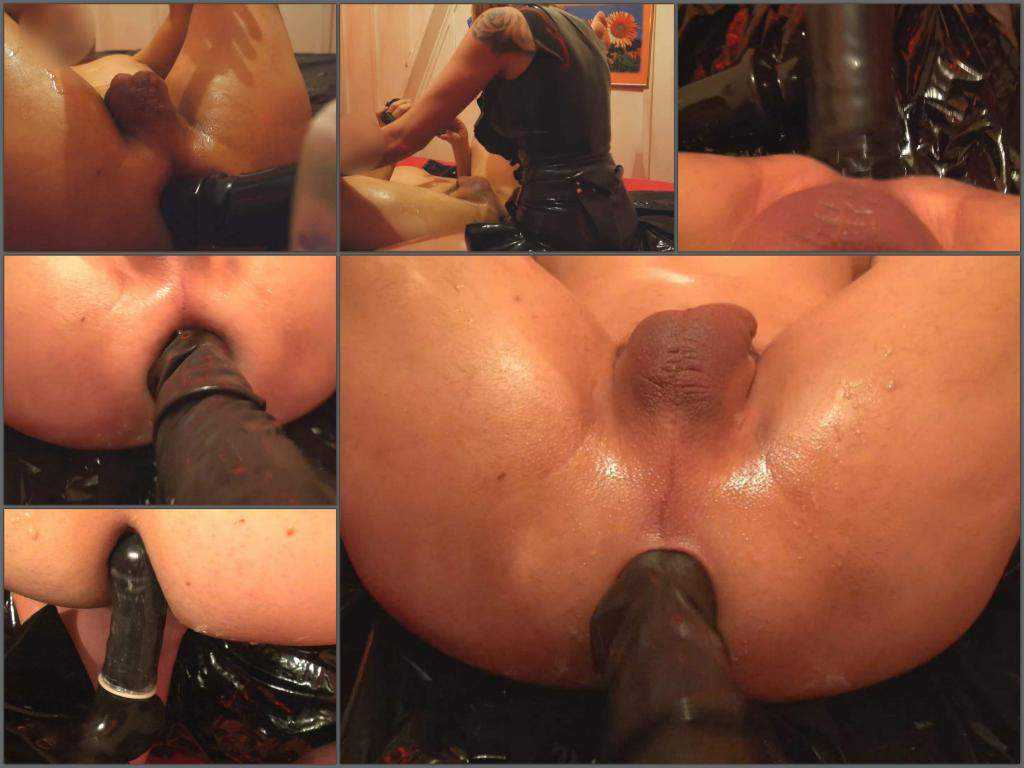 Rubber wife femdom fisting and giant black strapon domination