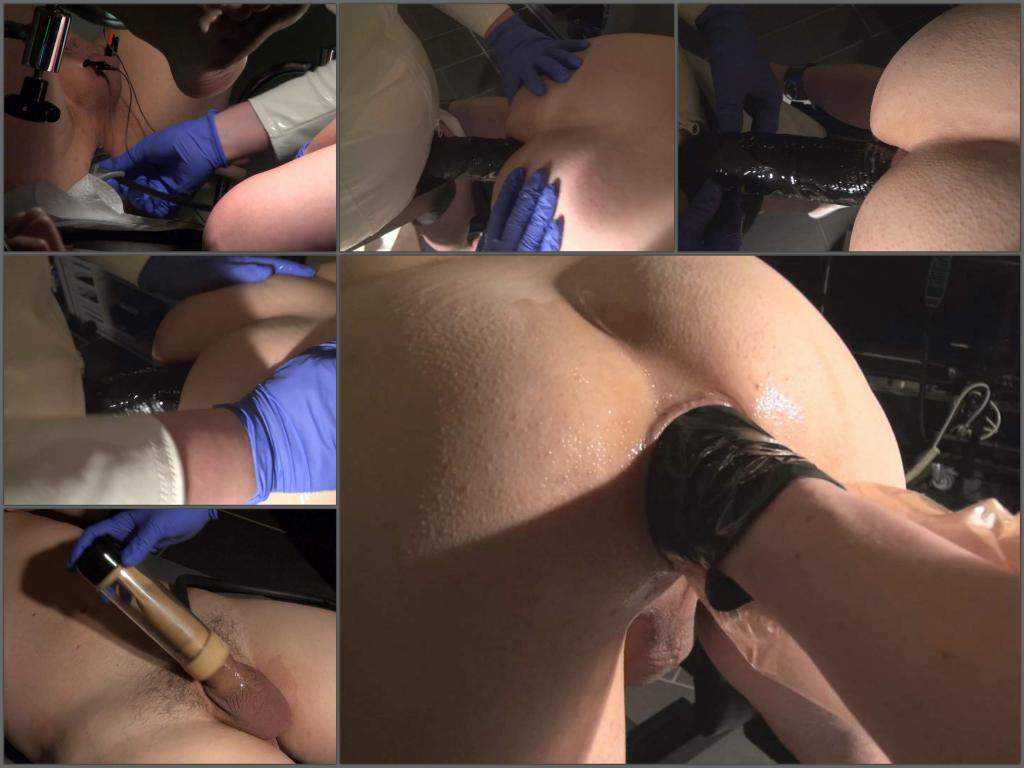 Wife penetration hand with rubber glove in ass her husband and cock pump