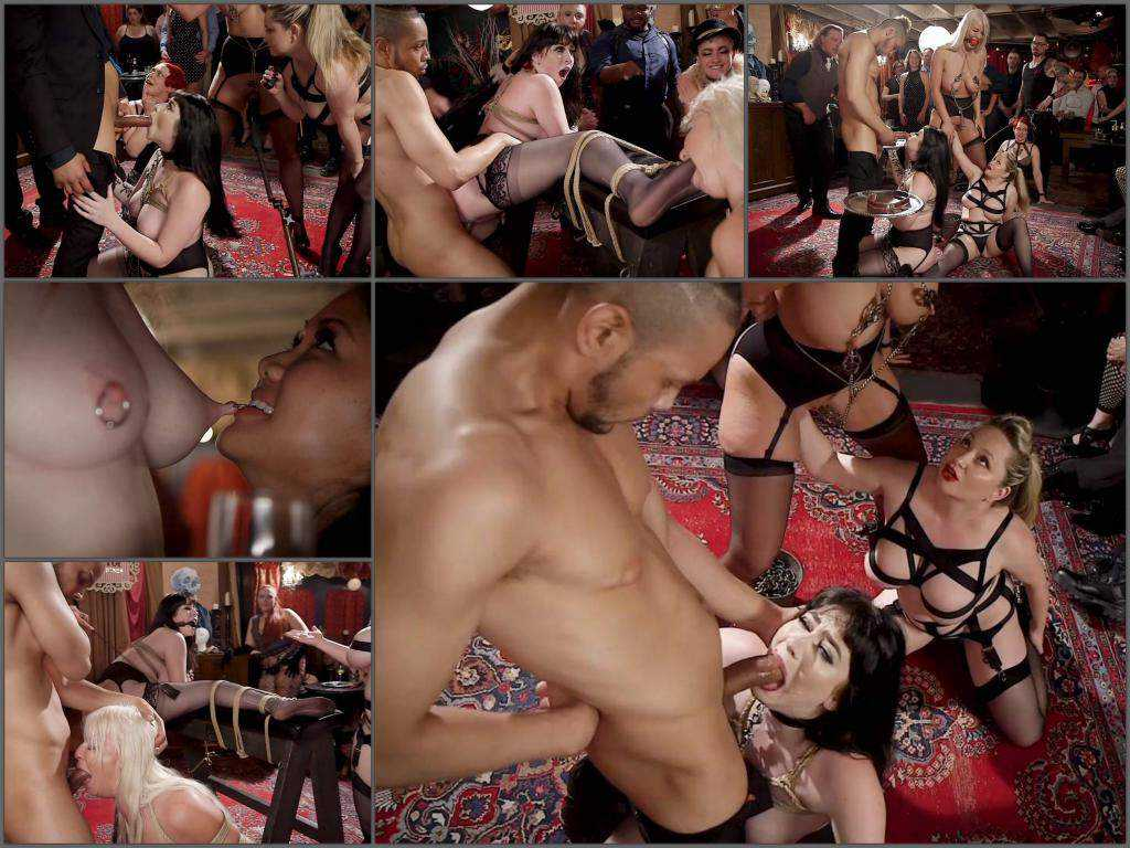 Aiden Starr, London River amd Amilia Onyx gangbang public fisting domination
