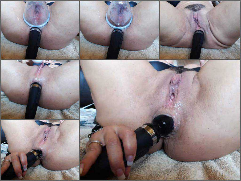 Dirty milf musclemama4u hitachi fully anal and pussy pump