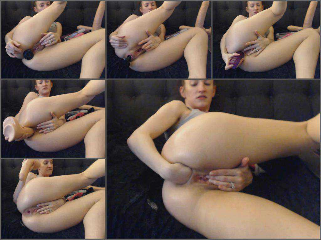 Kitty Darlingg anal fun with fist and giant dildos