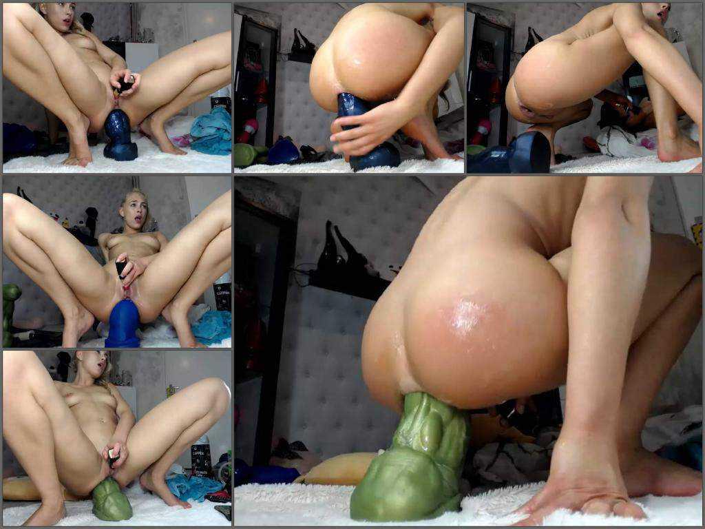 Webcam teen Siswet19 epic hulk dildo in asshole gape