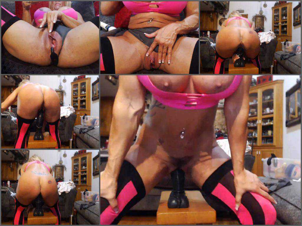 Big tits milf musclemama4u with giant clit rides on a BBC dildo