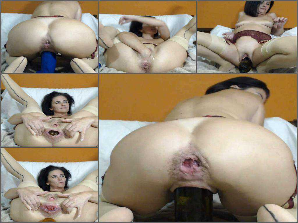 Booty milf kinkyvivian huge balls, bottle and dildos in rosebutt anus