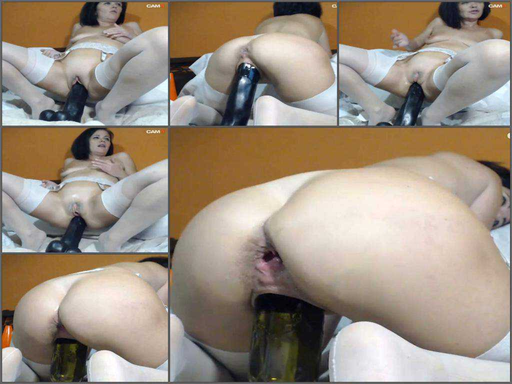 Queenvivian BBC dildo and wine bottle deep in smooth pussy
