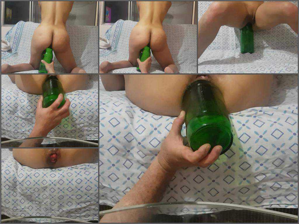 Wife gets huge glass botte in her little rosebutt asshole