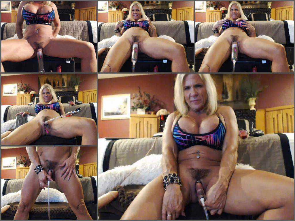Muscular milf musclemama4u big clit and hairy pussy pump amazing