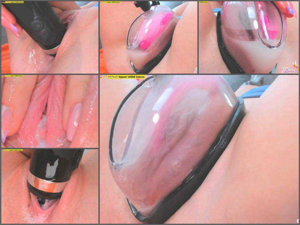 Pussypump – Laura penetration hitachi magic wand in wet pussy after pump