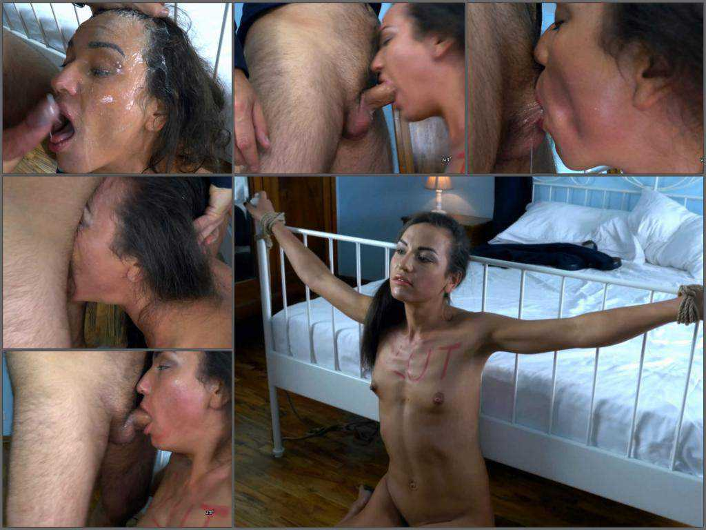 Deepthroat fuck – Hot bondage girl gets big cock in her deepthroat – 4k porn