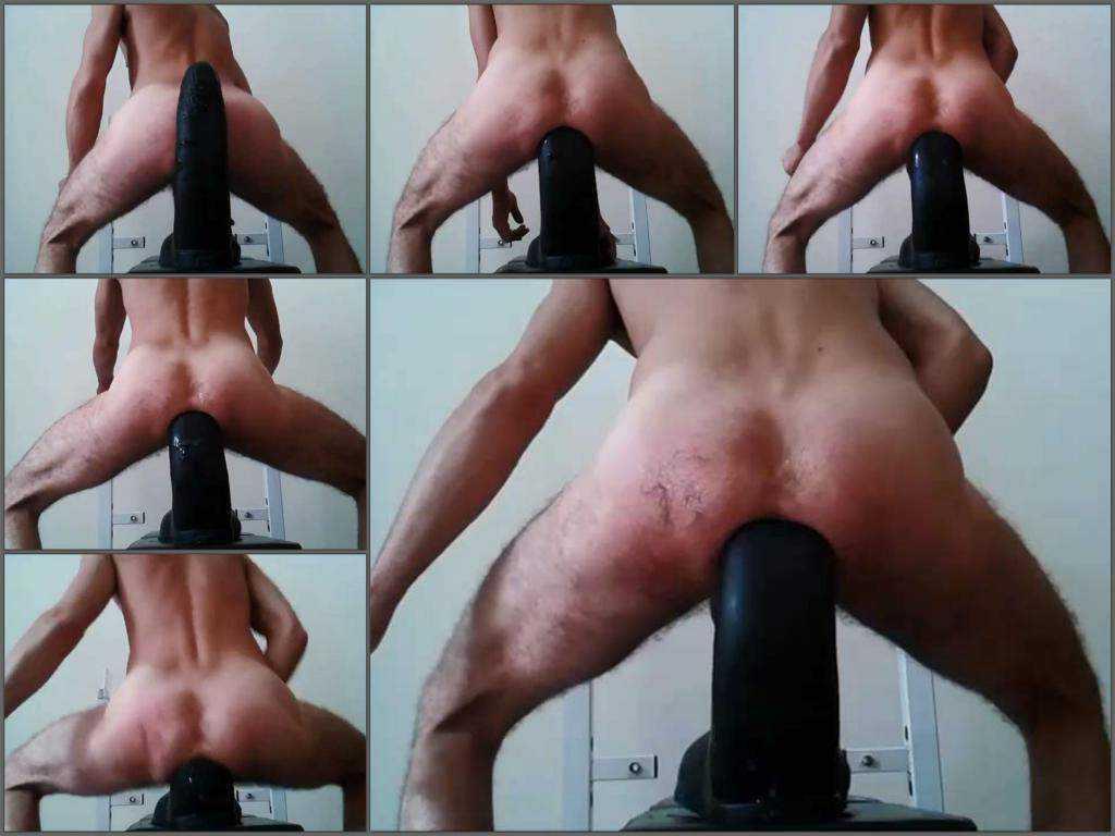 Huge dildo – Teddy Bear penetration monster black dildo fully in ass
